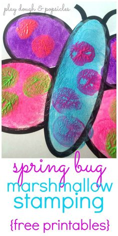 Spring Bug Marshmallow Stamping from Play Dough & Popsicles
