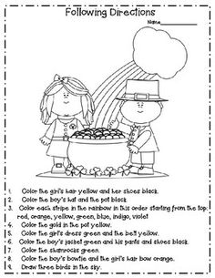 FREEBIE for St. Color the picture using the directions at the bottom of the page. Great for a morning warm-up! St Patricks Day Crafts For Kids, St Patrick's Day Crafts, Speech Language Therapy, Speech And Language, Speech Pathology, Speech Therapy Activities, Language Activities, Following Directions Activities, St Patrick Day Activities
