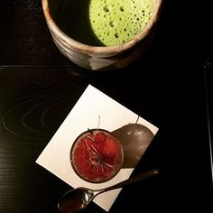 #GreenTea soup and #elderberry #sorbet served between meat and sushi courses. #kaiseki #Japanese #dinner #LosAngeles #nomnomnom #Goldresty #anniversary by adamaresty