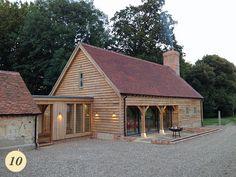 24 Ideas Farmhouse Design Plans Cabin For 2019 – FarmHouse 2020 Barn Conversion Exterior, Barn House Conversion, Barn Conversions, Garage Extension, Cottage Extension, House Cladding, Oak Cladding, Plan Garage, Oak Framed Buildings
