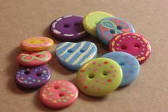 Painted Buttons Whimsical Buttons for Sewing by EllieMarieDesigns ON ETSY.