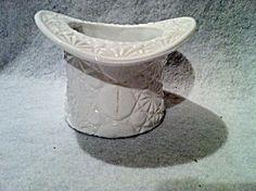 vintage milk glass top hat vase