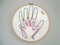 Family hand print embroidery - what a wonderful idea!