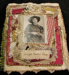 """Western """"Straight Shootin' Women"""" Collage of Fabric, Lace, and Rusty Tin Star"""