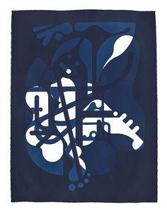 Ryan McGinness, Women Sun-Stained Symbols 8, 2012, Cyanotype on Saunders Waterford paper, 30 x 22 inches. #BridgetteMayerGallery #RyanMcGinness