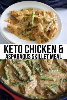 This Creamy Chicken and Asparagus recipe takes 30 minutes to make and only uses one pan! Full of flavor and delicious at only of net carbs, its a perfect keto/low carb meal when you don& want to skimp on taste but are in a hurry. Ketogenic Recipes, Low Carb Recipes, Diet Recipes, Cooking Recipes, Healthy Recipes, Ketogenic Diet, Healthy Asparagus Recipes, Dessert Recipes, Cheap Recipes