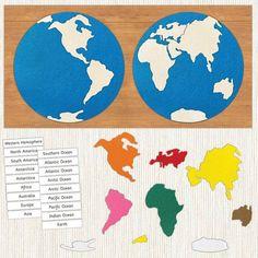 Vertebrates And Invertebrates, Continents And Oceans, World Crafts, Preschool At Home, Montessori Materials, Fabric Glue, Wooden Puzzles, Book Making, Printables