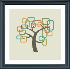 Modern cross stitch pattern tree retro blocks trees por Happinesst