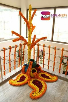 Diwali Flower Decoration At Home Diwali Decorations At Home, Wedding Stage Decorations, Festival Decorations, Flower Decorations, Rangoli Designs Flower, Flower Rangoli, Beautiful Rangoli Designs, Rangoli Patterns, Easy Rangoli