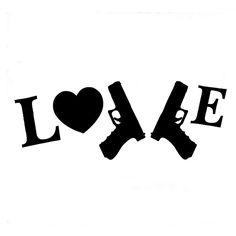 Wholesale 10pcs/lot 20pcs/lot I Love My Guns 9mm- Die Cut Vinyl Car Laptop Graphics Window/bumper Sticker