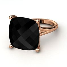 Black Onyx 14K Rose Gold Ring... I love this setting. Would like it better with a light blue sapphire and in white gold