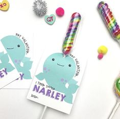 Narwhal Valentines Printable Cards INSTANT DOWNLOAD