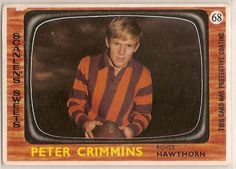 Scanlens 1967 VFL football card for Hawthorn rover Peter Crimmins.