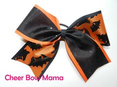 Orange and Black Halloween Cheer Bow by Cheer Bow Mama