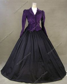 Civil War era dress. Black skirt, purple velvet bodice/jacket.