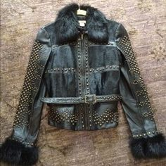 I just discovered this while shopping on Poshmark: Cache Blk Leather Studded Jacket w/Faux Fur Accent. Check it out! Size: 8