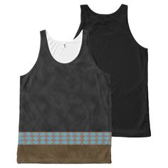 Faux Visual Black Suede Harlequin Pattern Stripe All-Over Print Tank Top Tank Tops