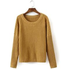 Yoins Yoins Khaki Loose Ribbed Knit Jumper ($29) found on Polyvore featuring tops, sweaters, sweaters & cardigans, yellow, yellow sweater, loose fit tops, ribbed knit top, loose fitting tops and loose tops