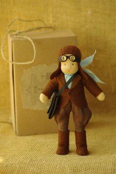 Pilot waldorf doll good friend for boy // original by TaleWorld