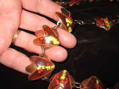 Vintage 60s Modern Beautiful Copper Enamel Boomerang Necklace and Bracelet. $75.00, via Etsy.