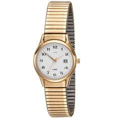 JOBO Damen Armbanduhr Quarz Analog Edelstahl gold vergoldet Flexband Datum
