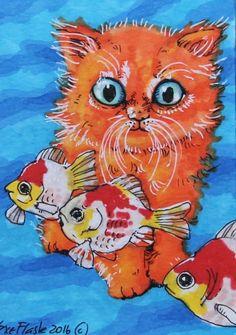 ACEO 2016 Original Pen ProMarkers Drawing Art Anime Goldfish Cat Sue Flask #Miniature