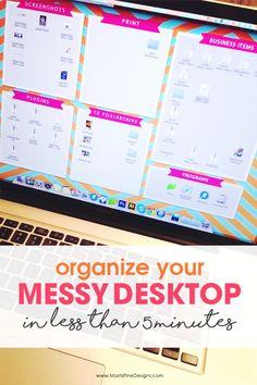 clean up your computer | simple desktop computer organization | computer desktop organizer | quick & easy computer cleaning