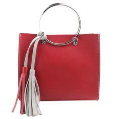 Women Contrast color shoulder bags women handbags Fashion Hit Color Tassel Shoulder Bag Large Tote bolsas feminina#D