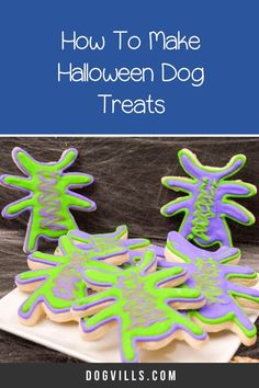 This October, celebrate your pup's most brilliant moves with these fun homemade Halloween dog treats shaped and decorated to look like vibrant spiders! Halloween Spider, Dog Halloween, Dog Treat Recipes, Dog Food Recipes, Purple Food Coloring, Halloween Cookie Cutters, Spider Cookies, Best Dog Food, Homemade Halloween