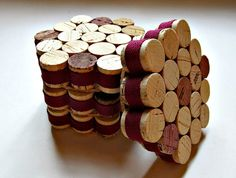 Honeycomb Wine Cork Coasters with Burgundy by LizzieJoeDesigns