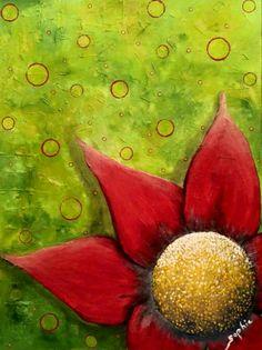 """Épanouïe comme une fleur, 36"""" x 48"""", galerie, Acrylique, pâte de modelage et collage"""