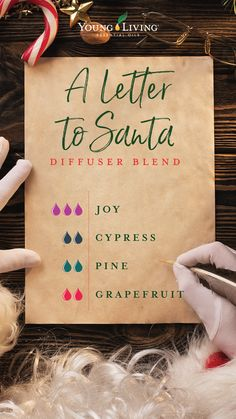 There's nothing like the Christmas joy in a child's letter to Santa. Bring that happiness into your home with a diffuser blend that combines the brightness of citrus, the fresh scent of a forest, and a warm floral aroma to keep things cozy. Essential Oil Christmas Blend, Pine Essential Oil, Yl Essential Oils, Essential Oil Diffuser Blends, Young Living Essential Oils, Yl Oils, Doterra, Diffuser Recipes, Living Oils