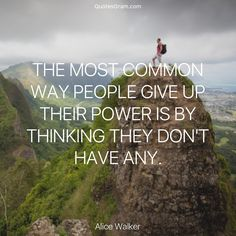 """Quote of The Day """"The most common way people give up their power is by thinking they don't have any."""" - Alice Walker http://lnk.al/4a89"""