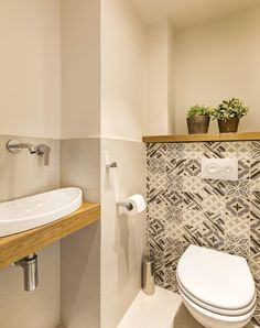 Wood and painted tiles Bathroom Accents, White Bathroom, Small Bathroom, Guest Toilet, Downstairs Toilet, Understairs Toilet, Toilet Paper Storage, Toilet Room, Toilet Roll Holder