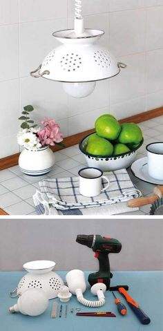 You can use old kitchen stuff for decoration purpose. The 30 best decoration ideas and repurpose ways with old kitchen stuff in this amazing gallery. Colander Light, Corner Deco, Luminaria Diy, Diy Pendant Light, Pendant Lights, Diy Light, Jar Chandelier, Pendant Lamps, Globe Pendant