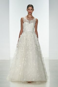 "Amsale Spring 2015 ""Drake"" gown. Embellished natural waist ballgown with crystal hand-beading and silk flowers."