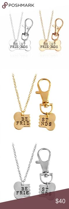 "Dog & Owner Best Friends Necklace Tag Gift Set So darn cute! You know you're his/her bestie! Make it official! Who else treats you like a rockstar every time you come home or loves you just for scratching their ears? Your best fur-friend! Check out these adorable two-piece sets of metal bone-shaped ""Best Friends"" divided pendants as necklaces and an easy clip-on dog tag! Boutique - brand new! Nickel-free zinc alloy. Pendants are app. 1.3"" x .70"" and human pendant necklace is on an adjustable…"