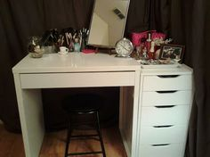 Love my new vanity. Ikea's Micke and 5 drawer Alex.