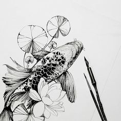 #koi #koifish #sketch #artmagazine #artwork #artgalery #worldofartists #art_spotlight #sketch_daily #flowers #drawing #artgalaxies #whichinkilike #art_empire #art_we_inspire #blacktattooart #blackworkers #blxckink #illustration #art #carp
