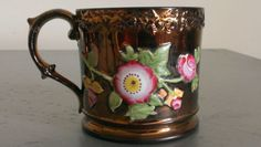 Pretty-Victorian-Copper-Lustre-Mug-Bright-Enamel-Large-Pink-Roses-Relief-Leaves