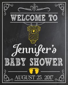 PRINTABLE Baby Shower Welcome Sign-Personalized Welcome To Baby Shower Chalkboard-Baby Shower Welcome Print-Baby Shower Chalkboard Sign-CW04
