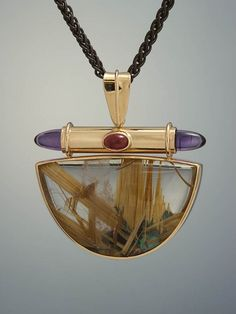 rutilated quartz, amethyst and tourmaline pendant. Quartz Jewelry, Amber Jewelry, Gems Jewelry, Metal Jewelry, Custom Jewelry, Jewelry Art, Gemstone Jewelry, Jewelry Accessories, Jewelry Design