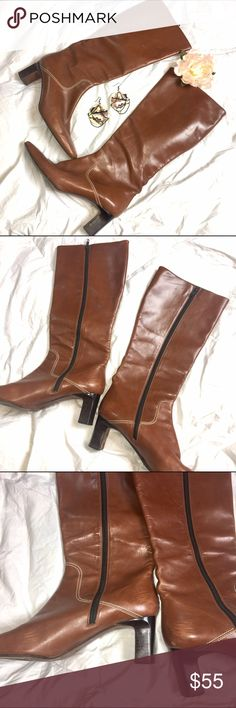 "😍 Vintage Cole Haan Tall Brown Leather Boots 😍 These boots are so comfy! Stylish and easy to walk in with a 2 1/2 heel height. 17"" from bottom of heel to top. See photos for signs of wear. In very good condition! Cole Haan Shoes Heeled Boots"