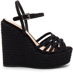 Schutz Leandrea Wedge (€155) ❤ liked on Polyvore featuring shoes, sandals, wedge heel shoes, braided sandals, rubber sole sandals, woven wedge shoes and platform wedge shoes