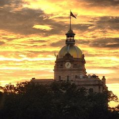 Savannah Georgia Sunset, looking out at city hall --- by #occupymyfamily on instagram