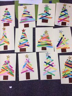 Christmas Trees with paper scraps