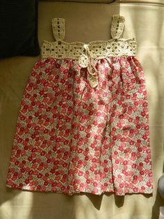 Kız çocuk elbisesi- tığ işi- örgü- dikiş- motif- hanım dilendi bey beğendi