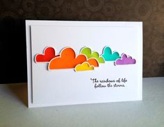 I have a couple more Cloud Bank cards to show you, made with the leftovers from my cards from a few days ago. One a rainbow, the other a baby card:)!!... Made this card with colored vellum I purchas