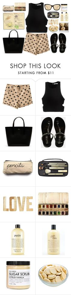 """""""black hearts - Top Set 6/1/16"""" by juliehalloran ❤ liked on Polyvore featuring T By Alexander Wang, Lacoste, Religion Clothing, Bobbi Brown Cosmetics, Moleskine, PBteen, philosophy, Fig+Yarrow and GUESS"""