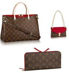 Louis Vuitton Pallas Monogram Canvas M41175 CERISE Tote & M42120 Handbag & Wallet=A set
